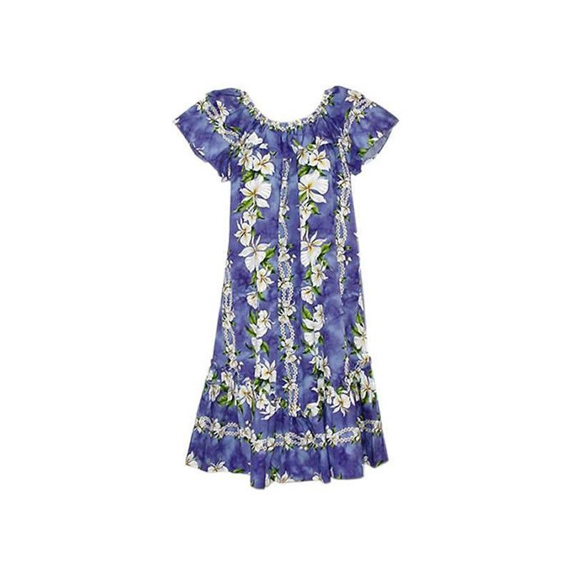 Orchid Purple Long Hawaiian Ruffle Muumuu Dress