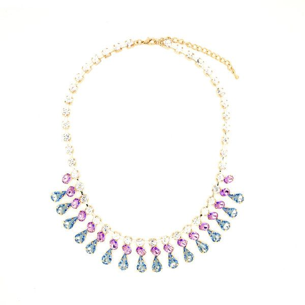 """BLUE EVENING NECKLACE  $ 24.99  LOBSTER FINISHED SIZE: 17"""" + 3"""" EXTENSION MATERIAL: PLATED BASE METAL, CRYSTAL COLOR: GOLD. LIGHT BLUE MIXED"""
