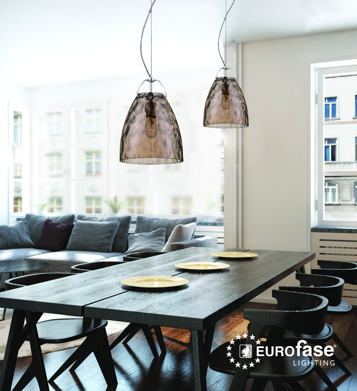 Amero pendant featuring a faceted blown glass shade interiordesign