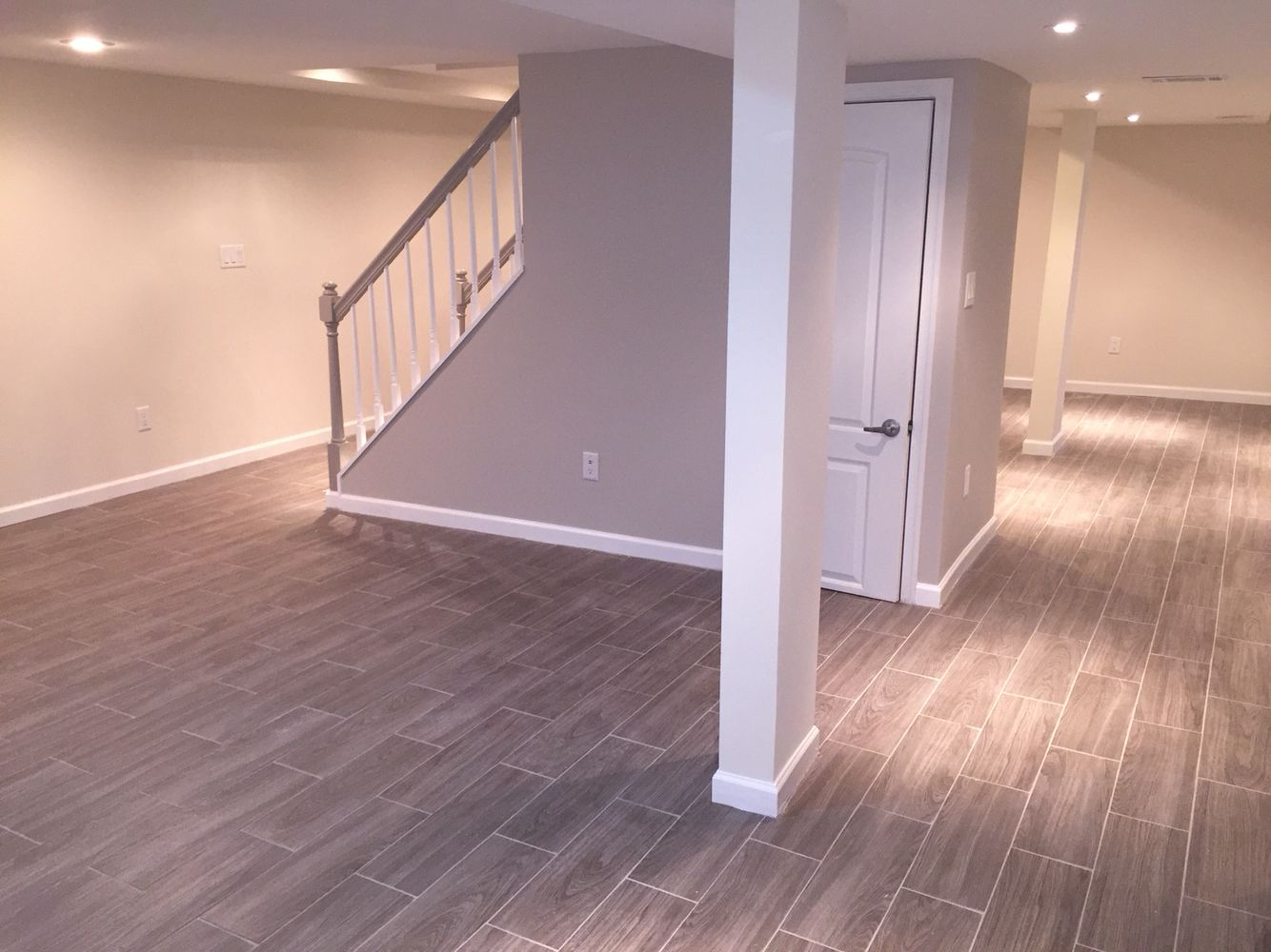 Loving my basement modern clean shades of grey grey for Basement flooring ideas pictures