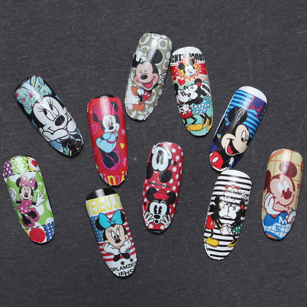 12 Estilos Nail Art Water Transfer Sticker Calcomanías Lindo Mickey ...