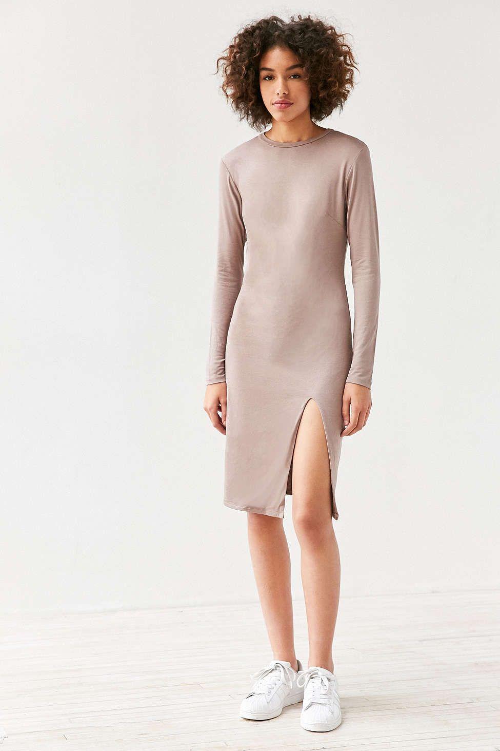 8c05637e694 Silence + Noise Mock Neck Bodycon Midi Dress - Urban Outfitters