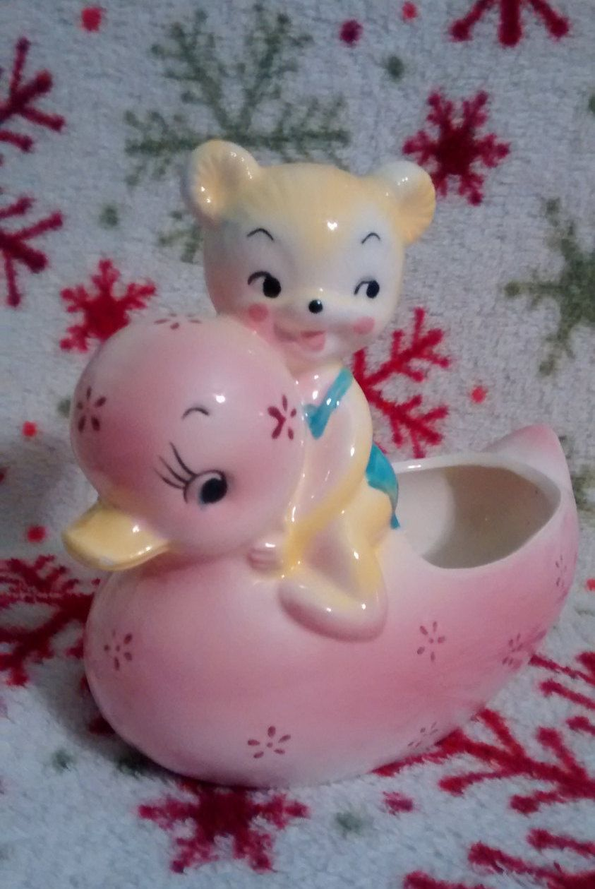 Cute Small Vintage Light Pink Ceramic Duck Planter