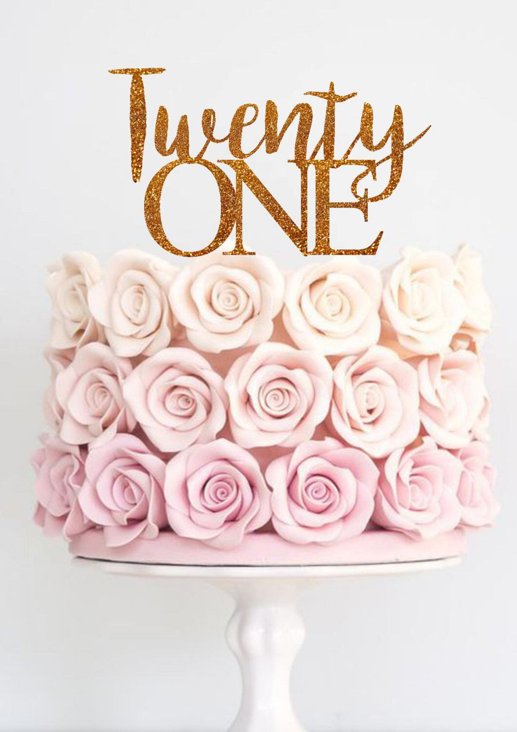 Twenty One Cake Topper Birthday 21st First Happy