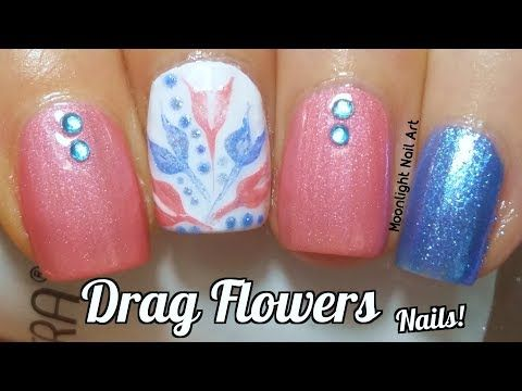 Drag Dry Marble Flowers Nail Art Tutorial Youtube Nails