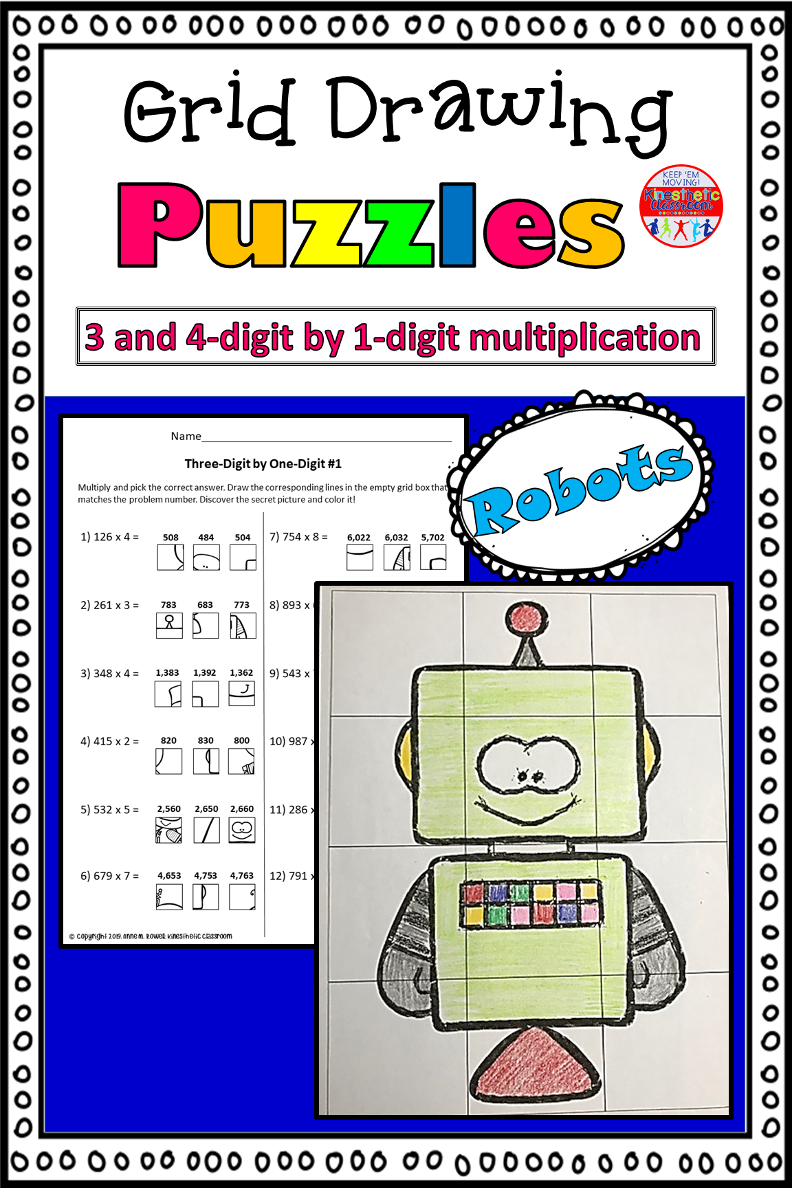 Multiplication Activity Grid Drawing Math Worksheets