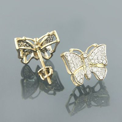 Butterfly Earrings Diamond Studs 0 45ct Solid Gold