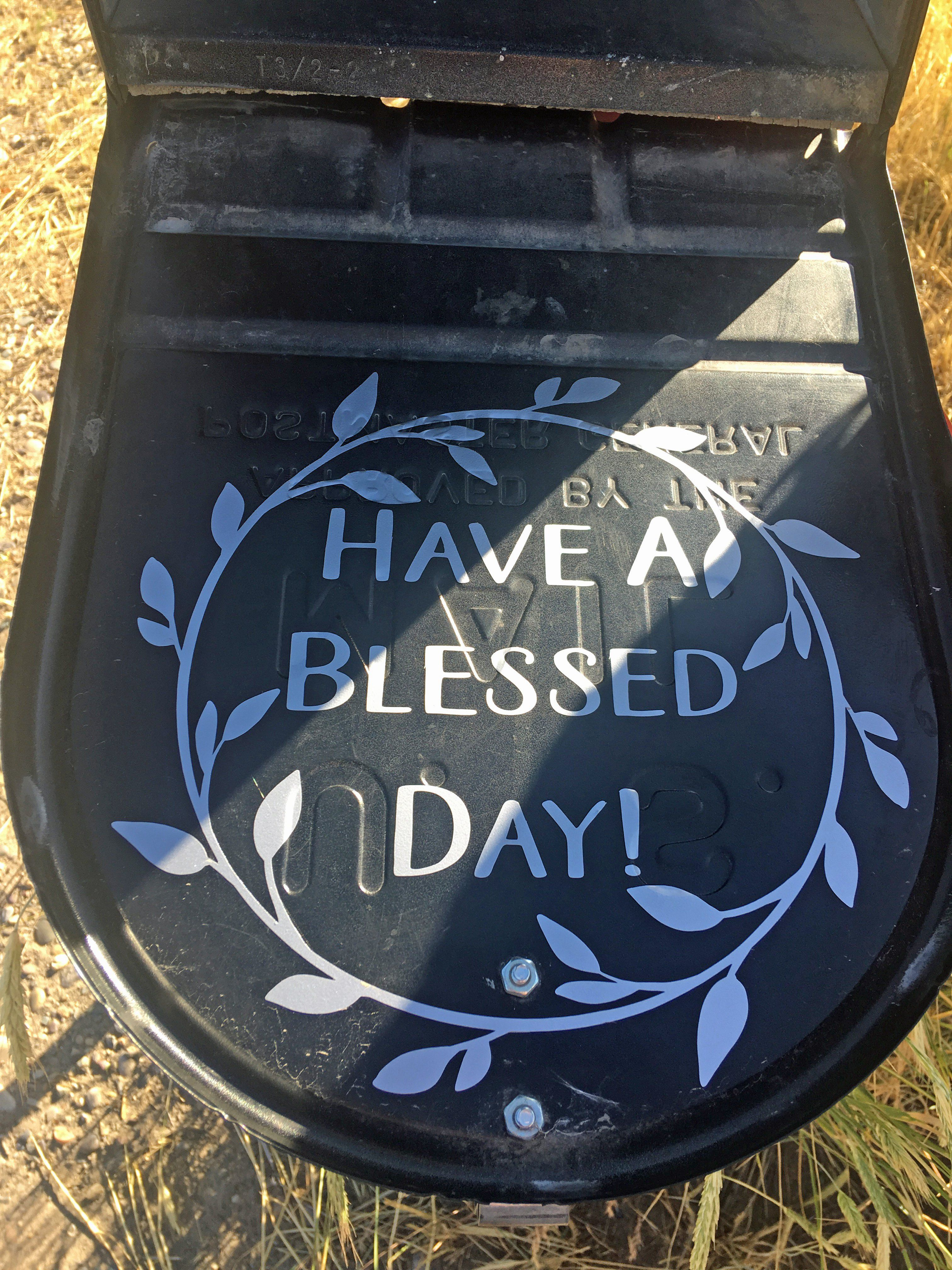 Have a Blessed Day Mailbox landscaping, Painted