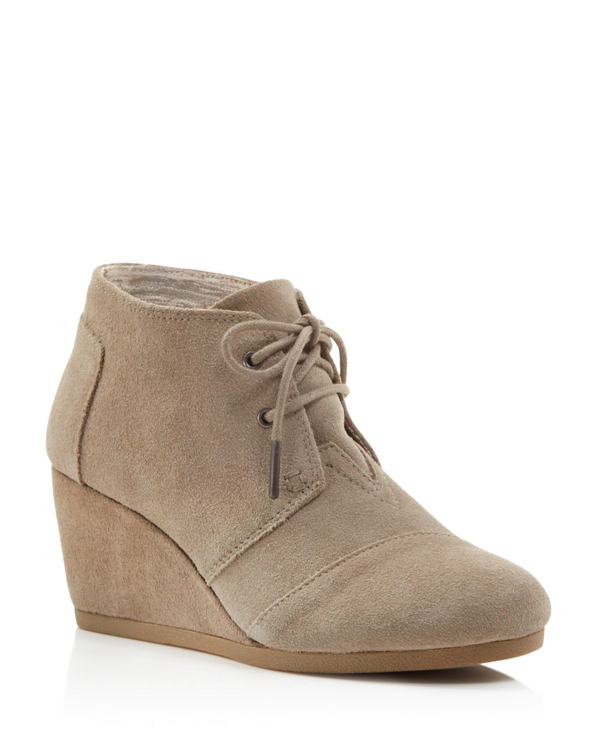 0b915cb606b TOMS Suede Desert Wedge Booties