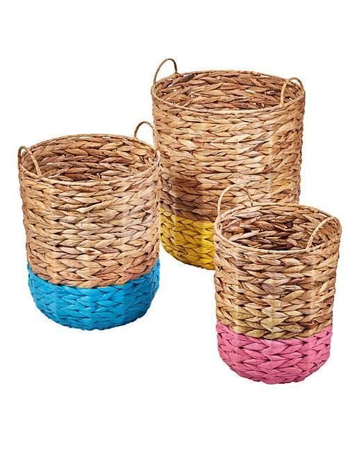 Details about Handwoven Colour Dip Storage Baskets Set Of 3 Home Kid Toy Organizer With Handle is part of Bohemian Home Accessories Colour -