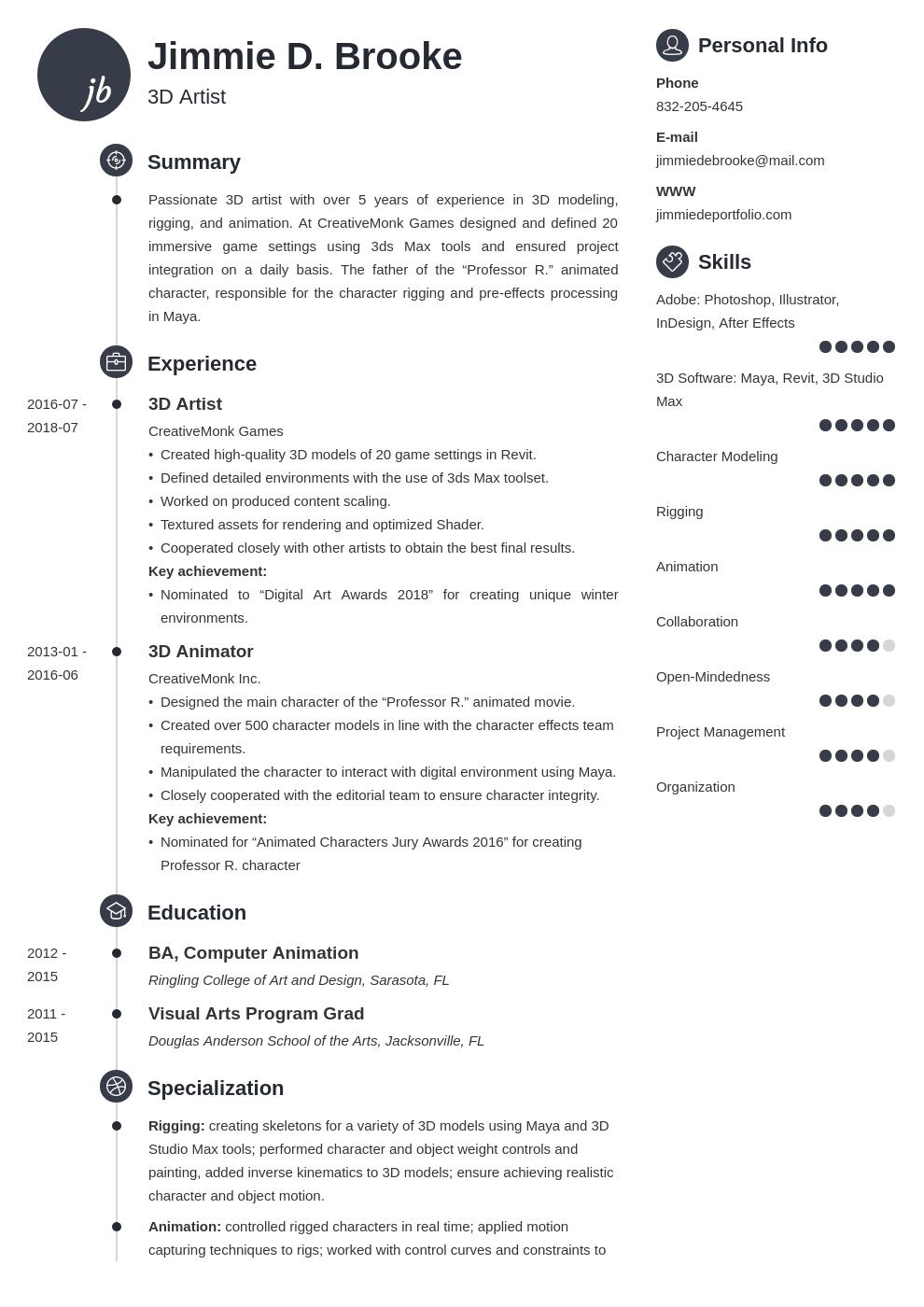 3d Artist Resume Example Template Primo Artist Resume Resume Examples Resume