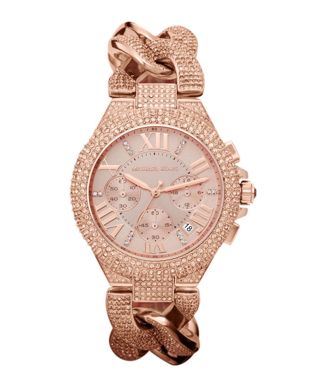 c4cda76b8961 Michael Kors Midsize Rose Golden Stainless Steel Camille Chronograph Glitz  Link Watch in Pink (rose golden)