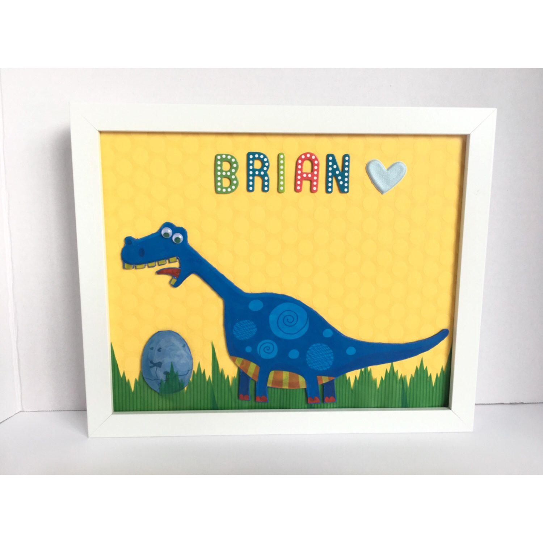 Dinosaur framed personalized, Baby Boy Blue Dinosaur wall Art