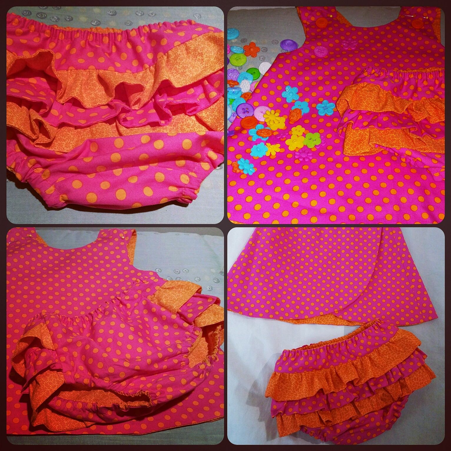 My home made fully reversible top/dress with matching fully lined frilly nappy cover in pink and orange.