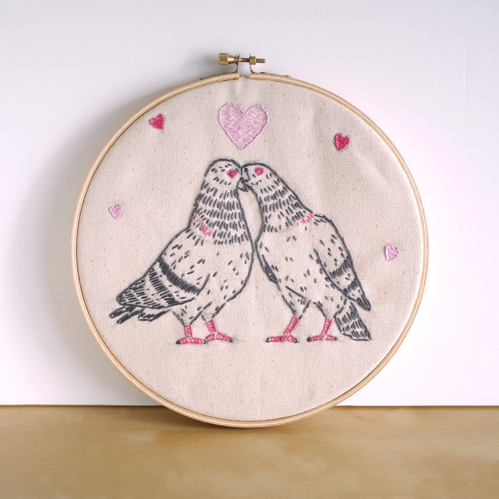 love pigeons Embroidery kits, Embroidery, Crafty kits