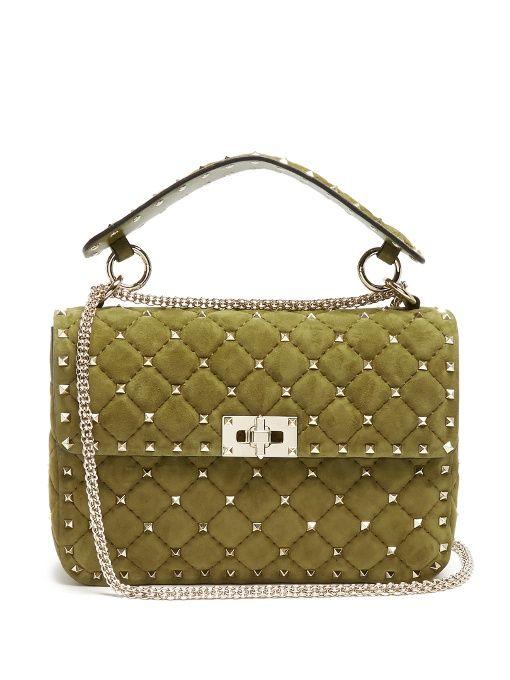 VALENTINO Rockstud Spike Medium Quilted-Suede Shoulder Bag.  valentino  bags   shoulder bags  hand bags  velvet  suede  lining   e7167055ad110
