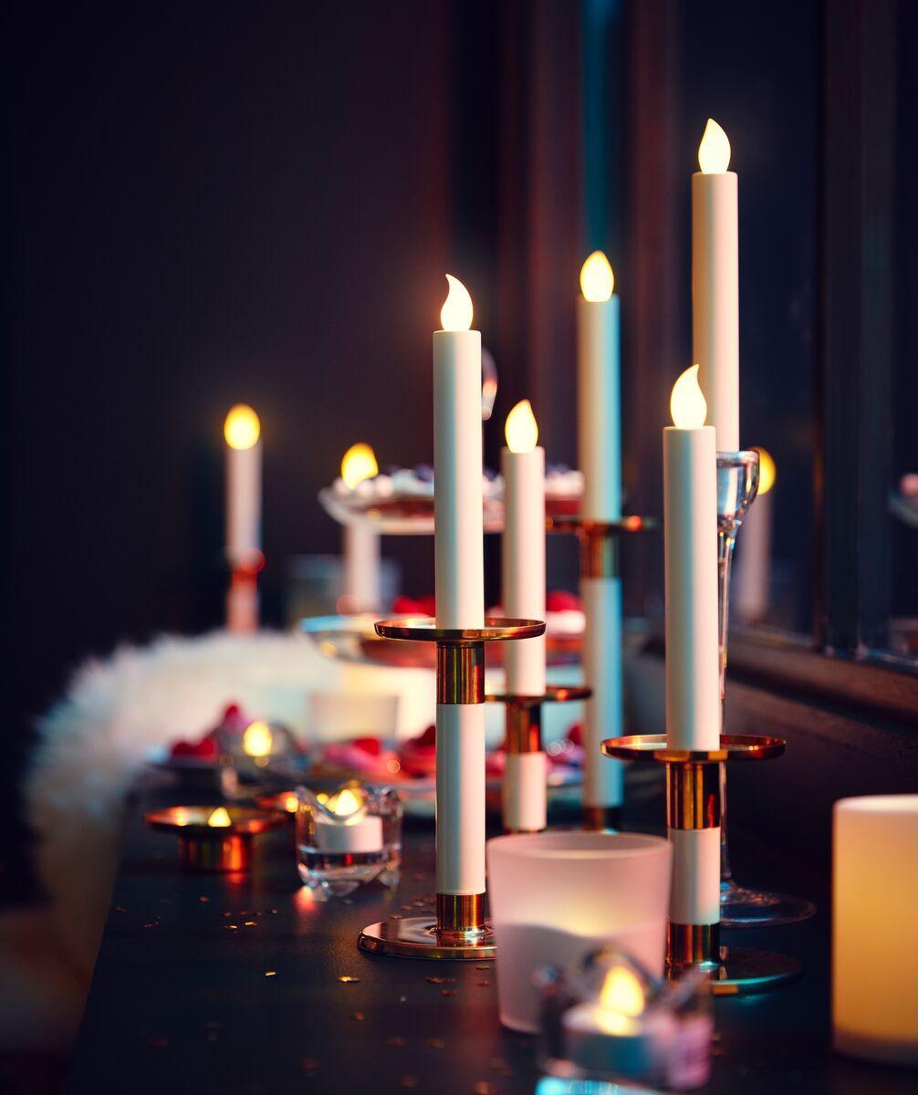 Glittrig Candlestick Set Of 3 Ivory Gold Colour Ikea Switzerland Led Kerzen Dekorative Beleuchtung Kerzen