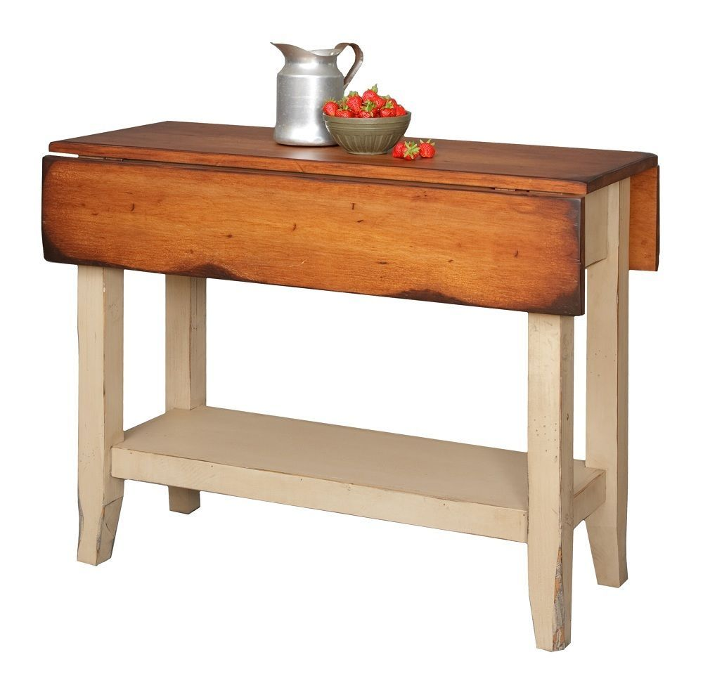 Small Country Table And Chairs: Primitive Kitchen Island Table Small Drop Side Farmhouse Country Farm Furniture
