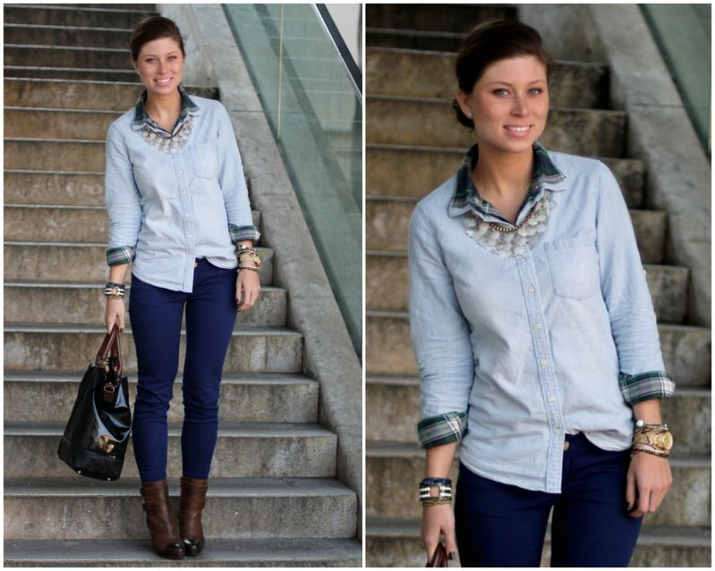 Love the colour of those jeans, and the boots, and the layered shirts.