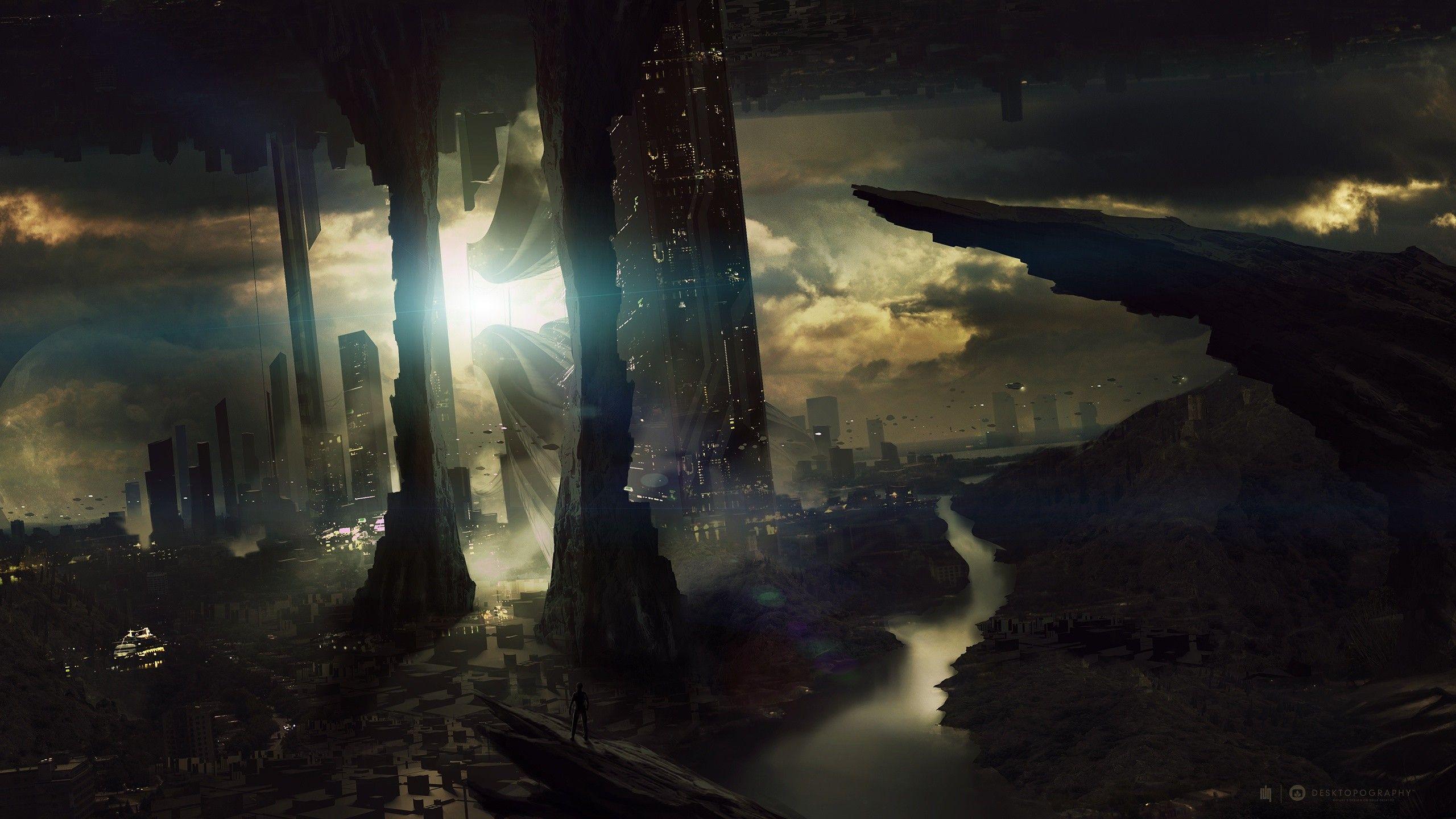 horizon digital art science fiction Desktopography cities  / 2560x1440 Wallpaper