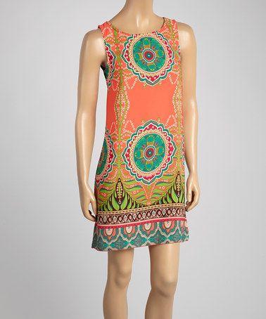 Look at this #zulilyfind! Coral Arabesque Sleeveless Shift Dress by R Rouge #zulilyfinds