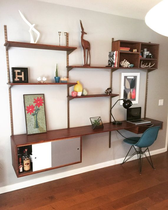 This Mid Century Modern Style Walnut Wall Shelving Unit Can Be Made To Fit Your Wall Shelving Units Mid Century Modern Walls Mid Century Modern Interiors