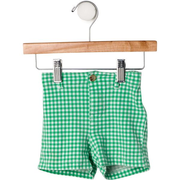 Pre-owned Ralph Lauren Boys' Gingham Casual Shorts (170 BRL) ❤ liked on Polyvore featuring green