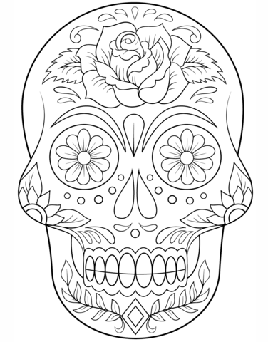 Coloring Pages For Adults Skull : Sugar skull with flowers coloring page from day of the dead