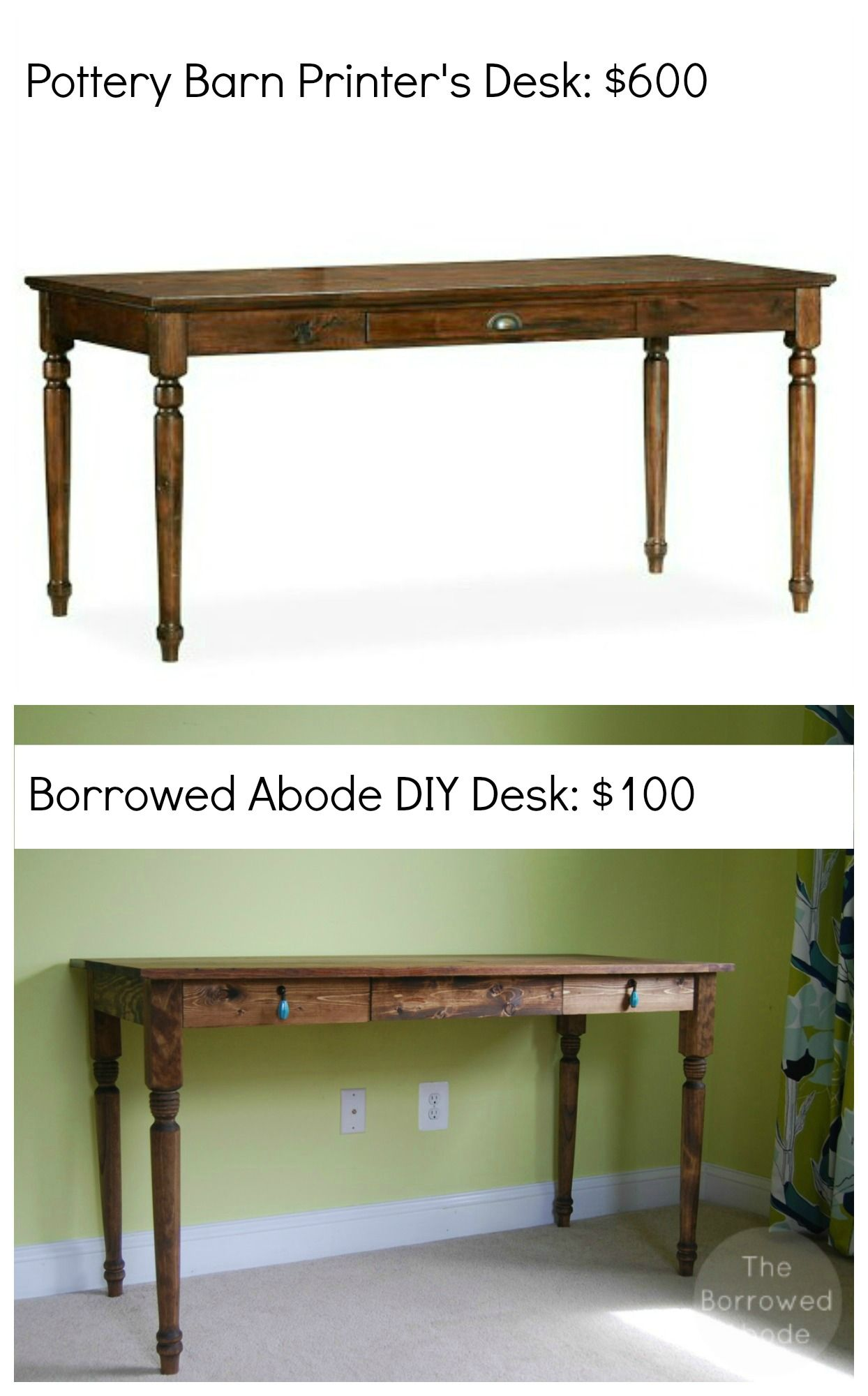 Diy Pottery Barn Desk The Borrowed Abode