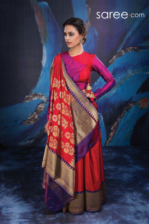 Maroon silk saree red and purple banarasi brocade silk saree  silk sarees saree and silk