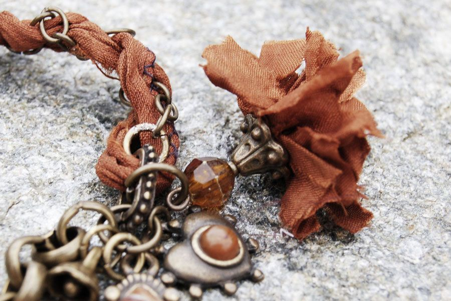 Sari silk flower bracelet with upcycled charms and Anthropologie style. $45.00, via Etsy.