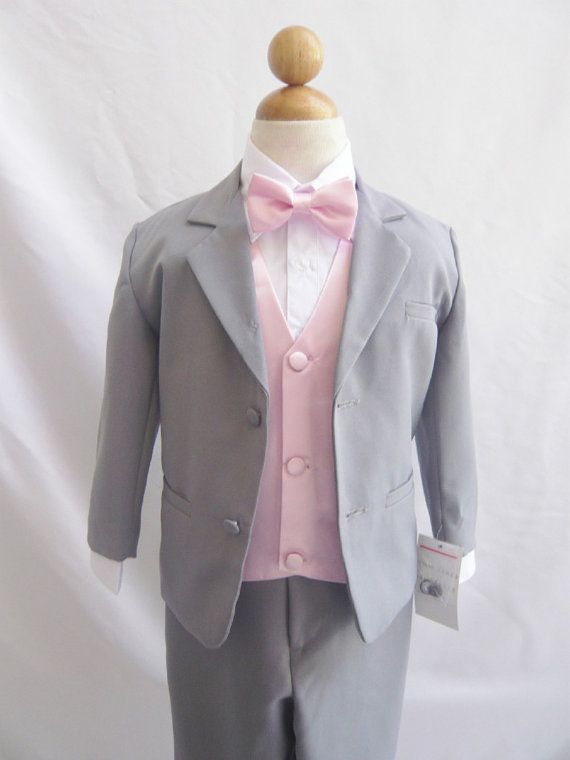 Formal Boy Suit Gray With Pink Light Vest For By