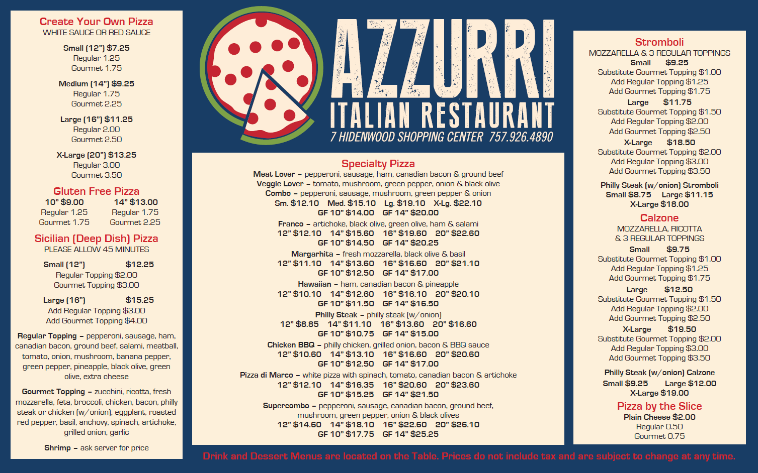Azzurri Menu Page   Restaurants That Deliver    Menu