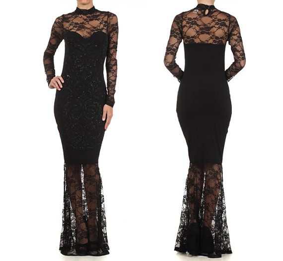 Hey, I found this really awesome Etsy listing at https://www.etsy.com/listing/213315666/sexy-women-black-sparkling-lace-maxi