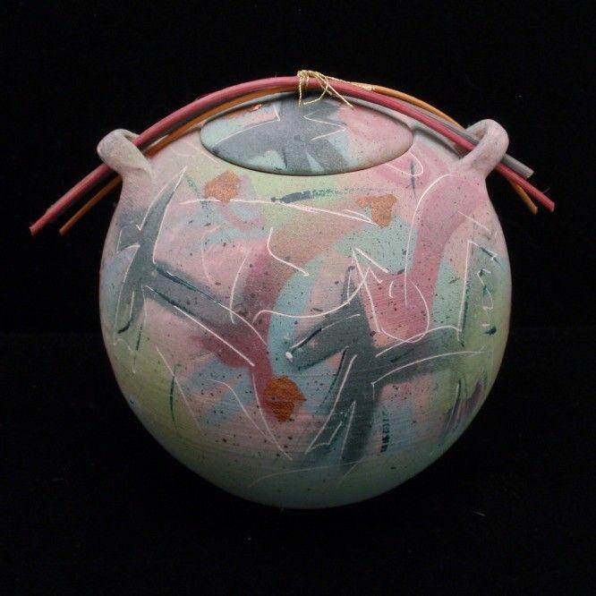 Laura Ross Raku Pottery Jar Lidded Vessel c.1990 Seafoam Green & Pink