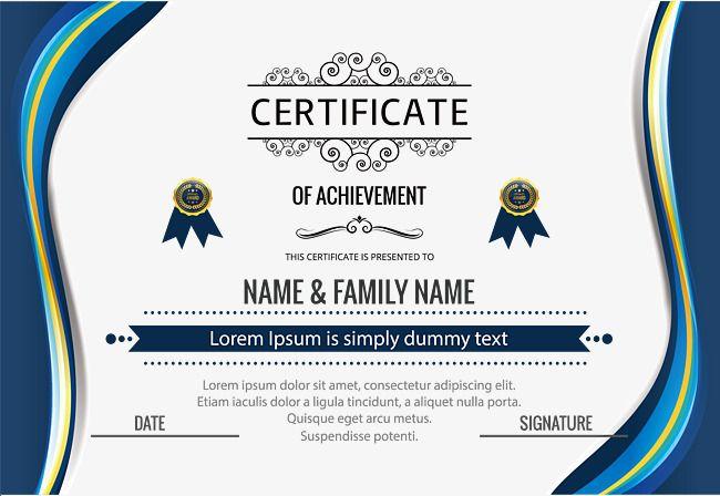 Certificat De Qualification De Bordure Bleue Le Vecteur De