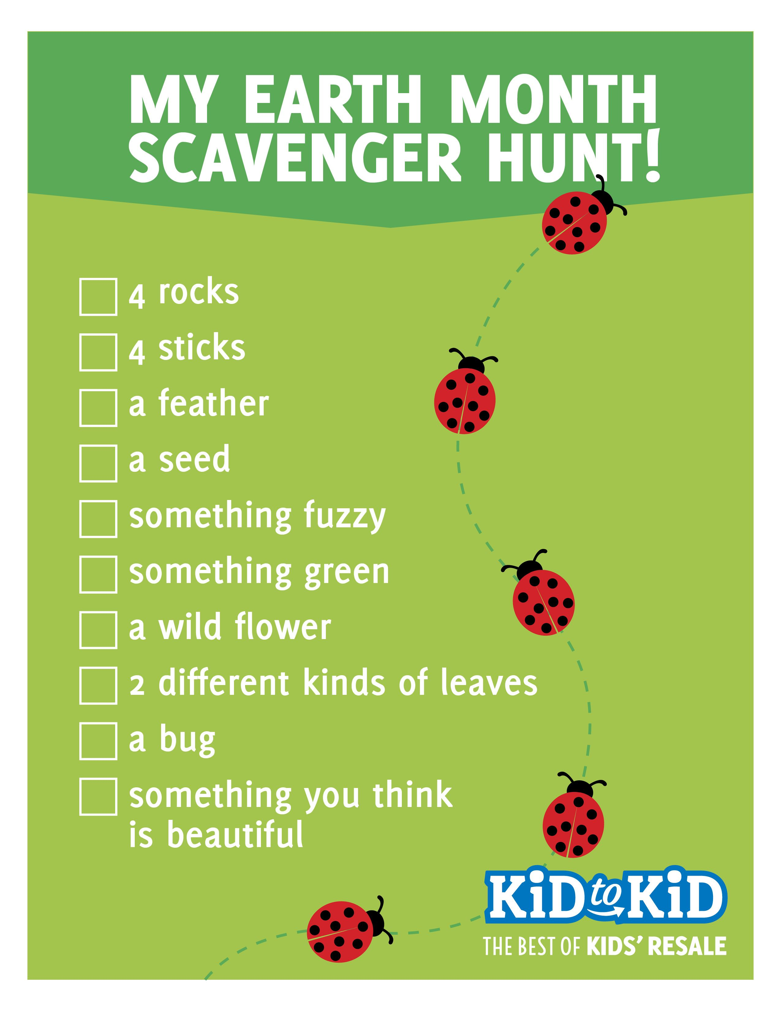 Printable Earth Month Scavenger Hunt Guide
