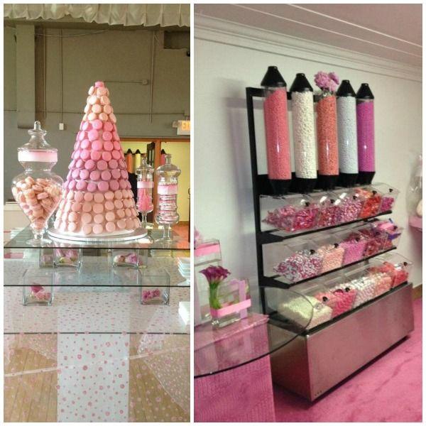 Pink theme cool bar Bridal Shower Pink Candy Bar Macaron Cake Via mazelmomentscom Wwwthemodernjewishmitzvahcom Pinterest Pink Candy Bar Macaron Cake Via mazelmomentscom Www