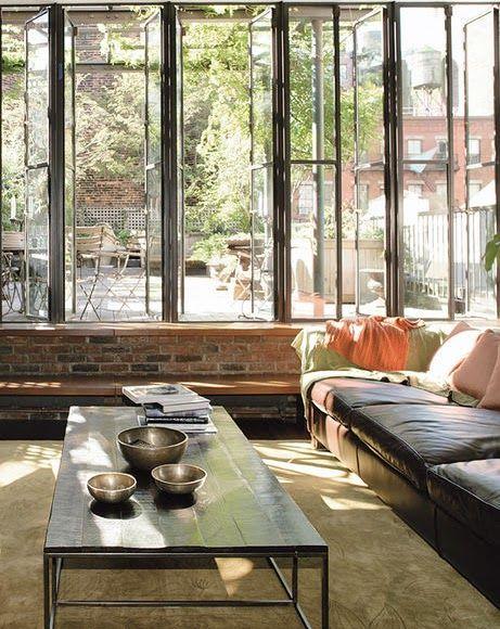 Windows + Brick wall? LOVE House Interiors Pinterest Living