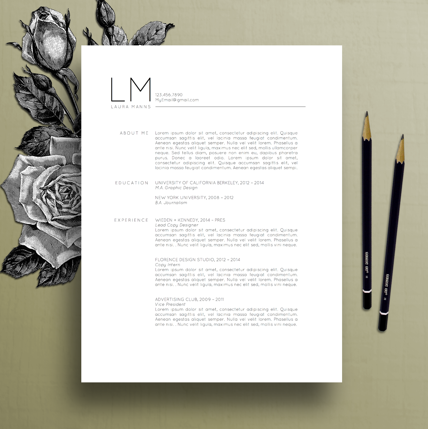 Modern Resume Layout Modern Resume Template Cv Template Cover Letter References Ms .