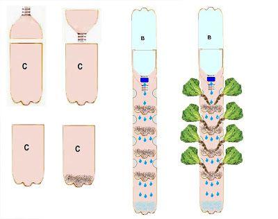 Huerta Vertical Con Botellas Huertos Urbanos O No