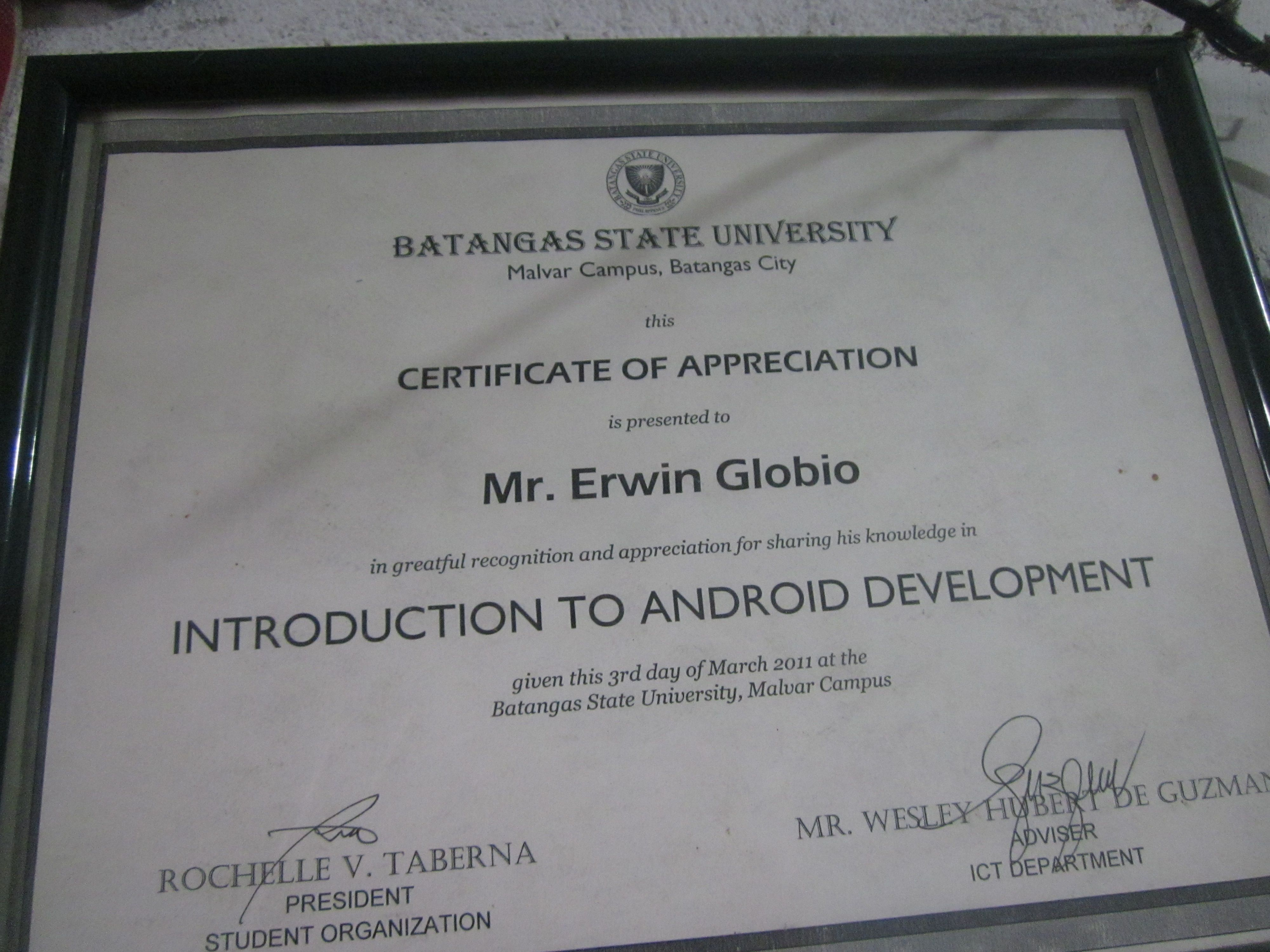 Prof erwin globios certificate of appreciation eglobiotraining erwin globios certificate of appreciation yadclub Choice Image