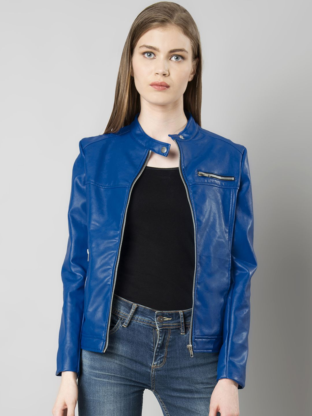 Buy FabAlley Women Blue Solid Leather Jacket Apparel