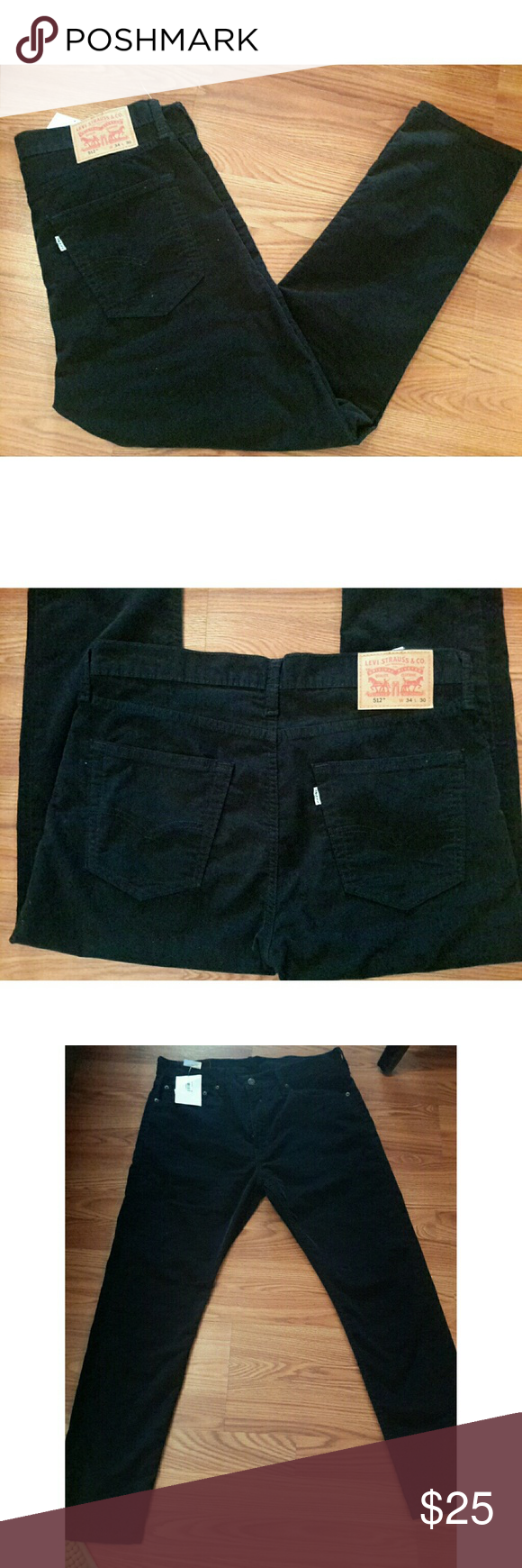 Mens Levis corduroy pants black size 34x30 Up for sell is a? nwt pair of Levi's 512 corduroy jeans. These are size 34 x 30 No tears, or stains. ?brand new !!!! Levi's Pants Corduroy