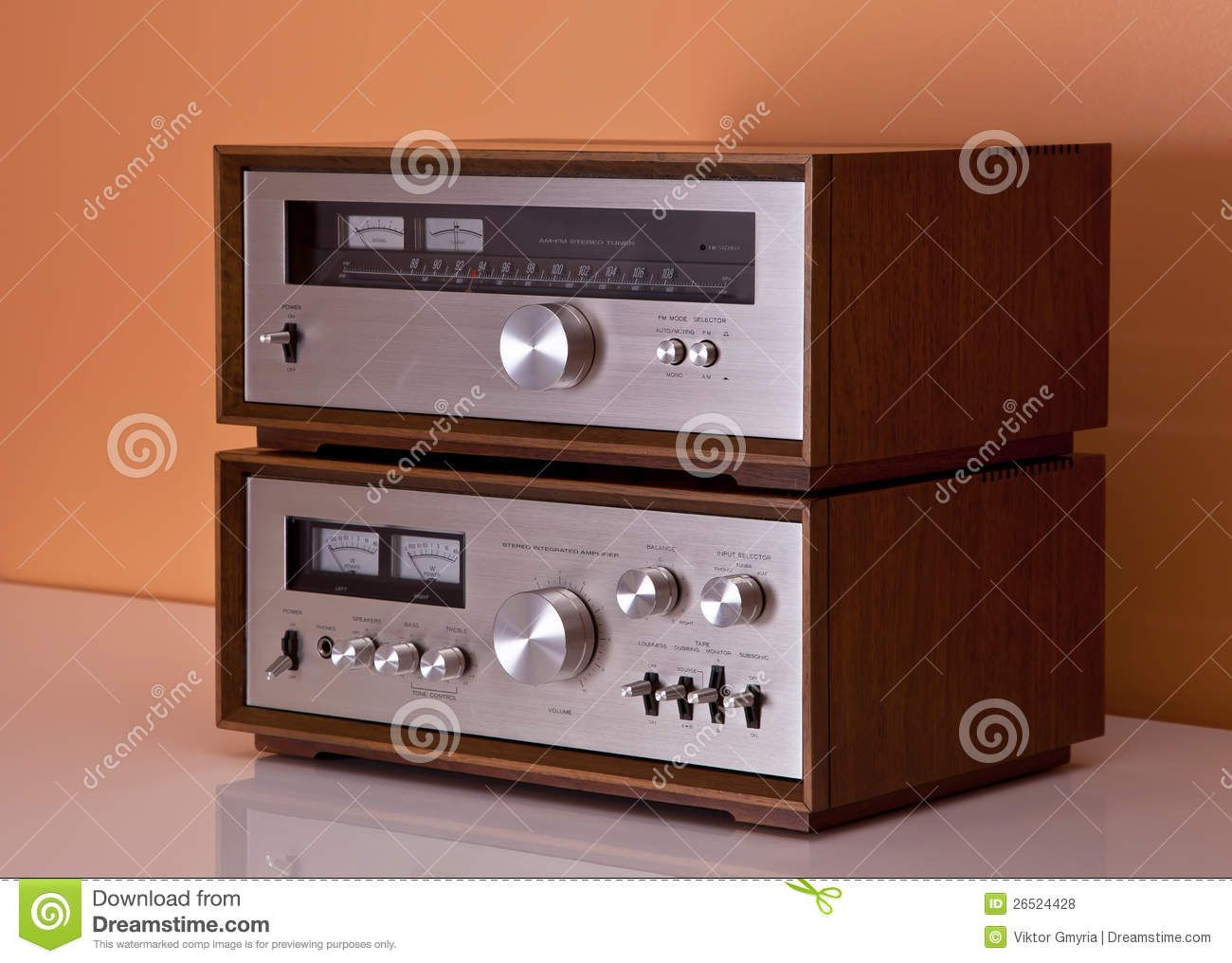 Vintage Stereo Amplifier Tuner Wooden Cabinets 26524428