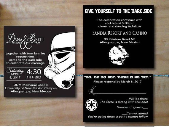 Star Wars Darkside Wedding Invitation Digital Files Products In
