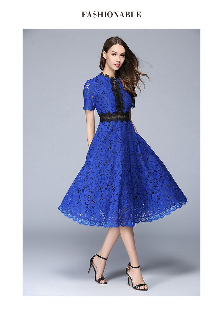 5785340005e86 Lace Hollow Out A-Line Elegant Office Dress | First Date Dress ...