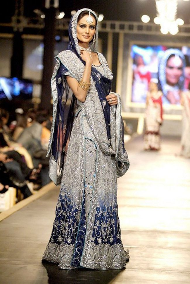 b245186de4 Wedding dresses pakistani walima indian fashion Ideas for 2019. Stunning  Silver and Royal Blue Bridal Lehenga