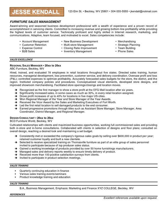 Furniture Sales Resume Examples  Google Search  Resume Examples