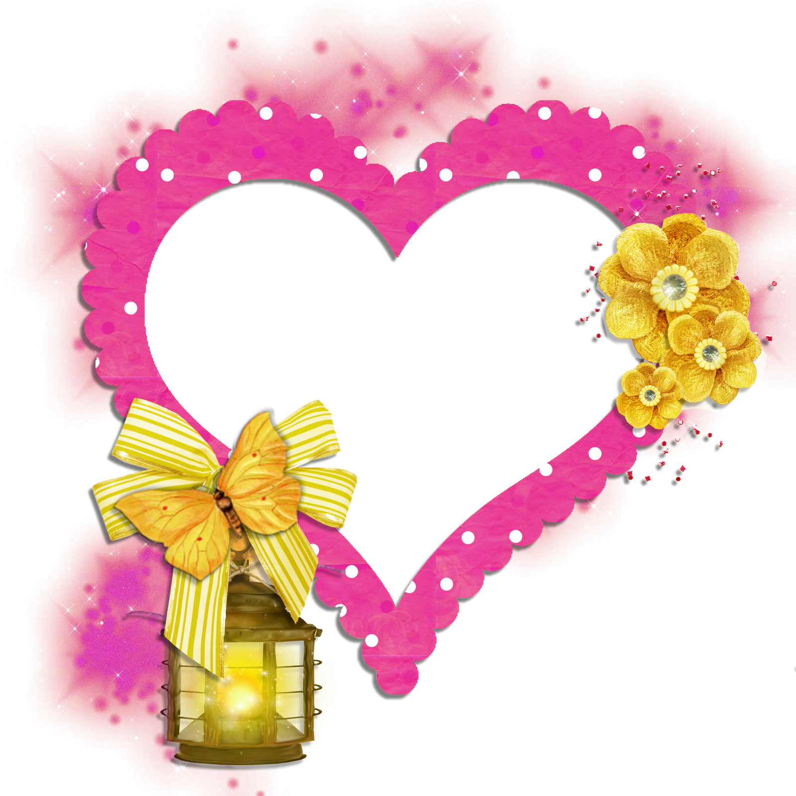 transparent frame pink heart with yellow butterfly flowers and lamp